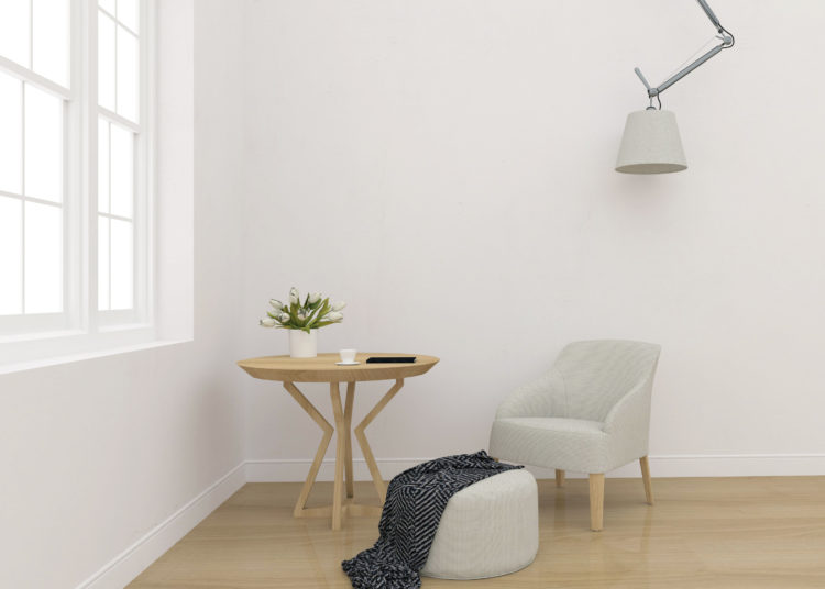 White interior - blank wall mockup - wall art display