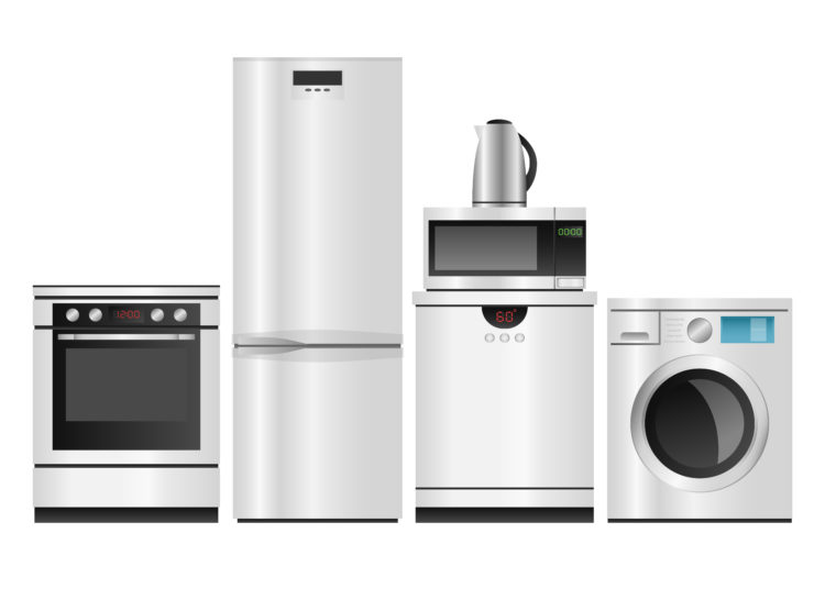 Household Appliances, Group of household appliances on a white background, Household Appliances, 3d Vector isolated and transportation illustration