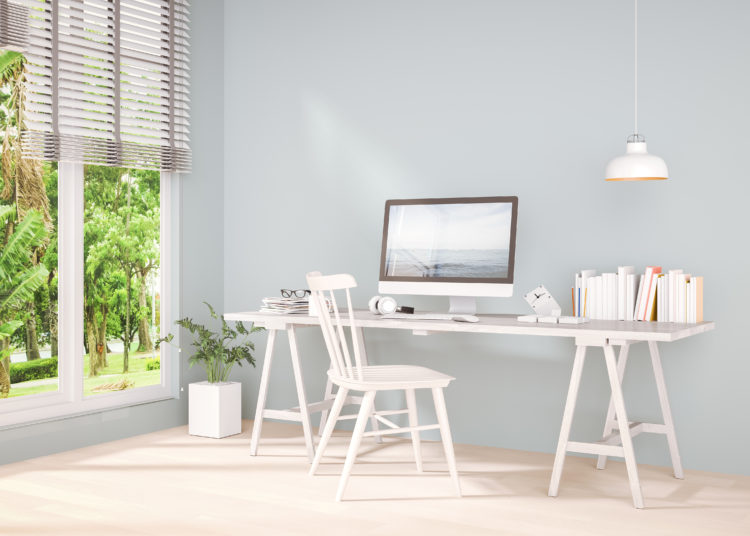 White desk with chair and computer