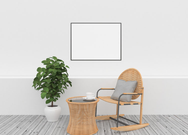 Horizontal frame - white interior with wicker furniture