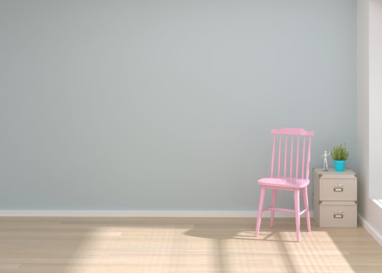 Pink chair in living room copy space and object minimal concept empty room and clean wall 3d illustration Interior design