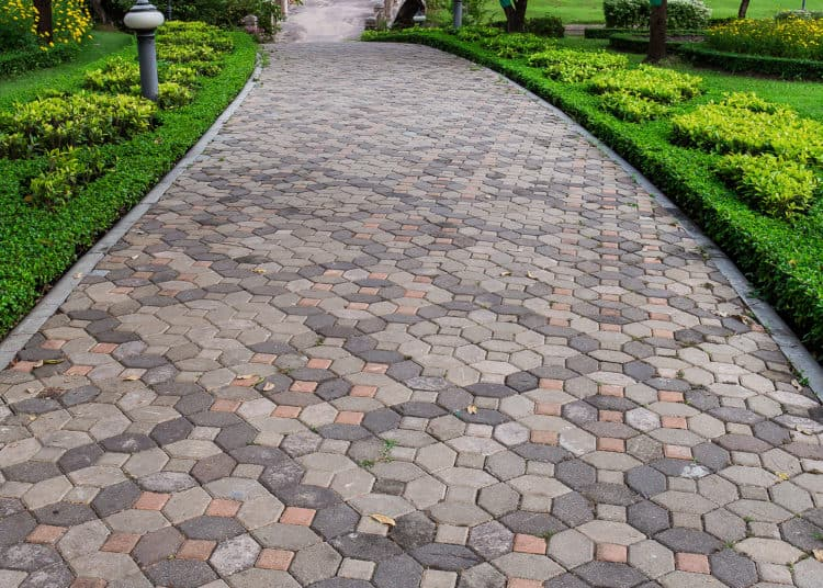The Stone block walk path in the garden, patio design