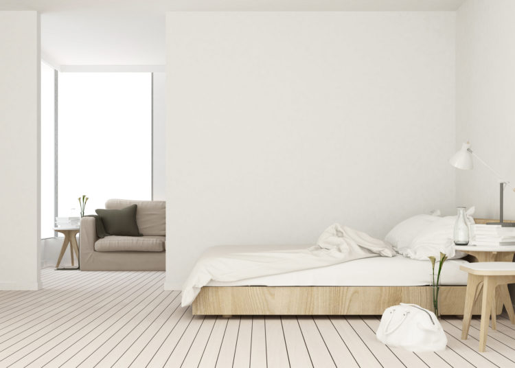 Modern and minimalistic bedroom, scandinavian style