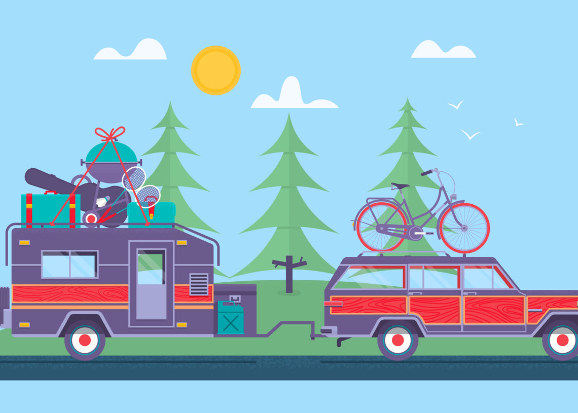 Road trip, Adventure, Trailering, Camping concept background. Journey by car. Fans club trailering. Trip to Europe.Vector flat illustration