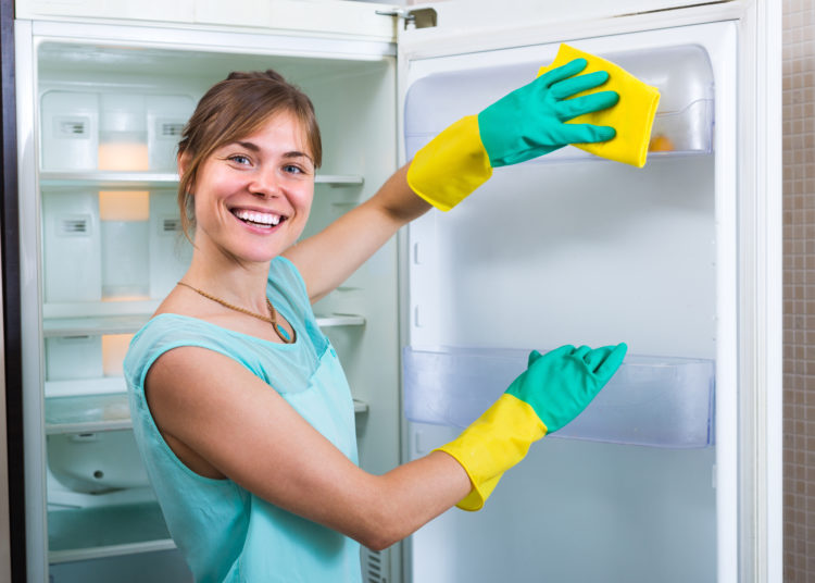 Cheerful smiling girl wiping fridge parts with lint-free rag