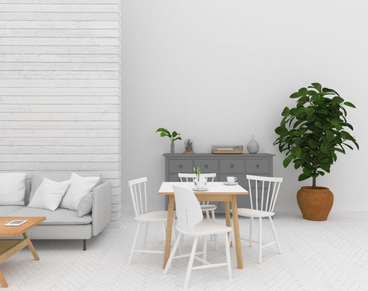 Scandinavian dining room interior - wall art background