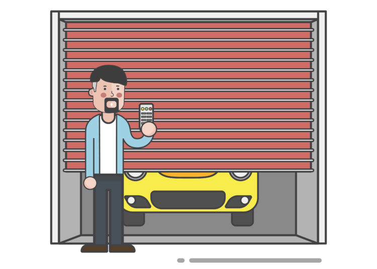 Guy holding the garage door remote vector, automatic garage door