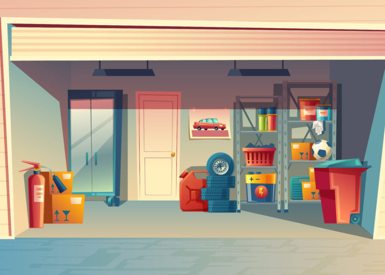 Vector cartoon illustration of automatic garage doors interior.