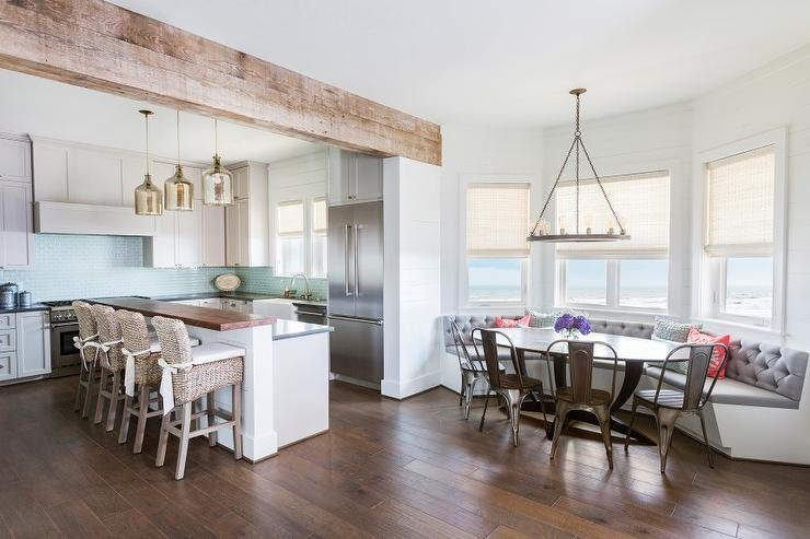 Banquet seating in modern kitchen space