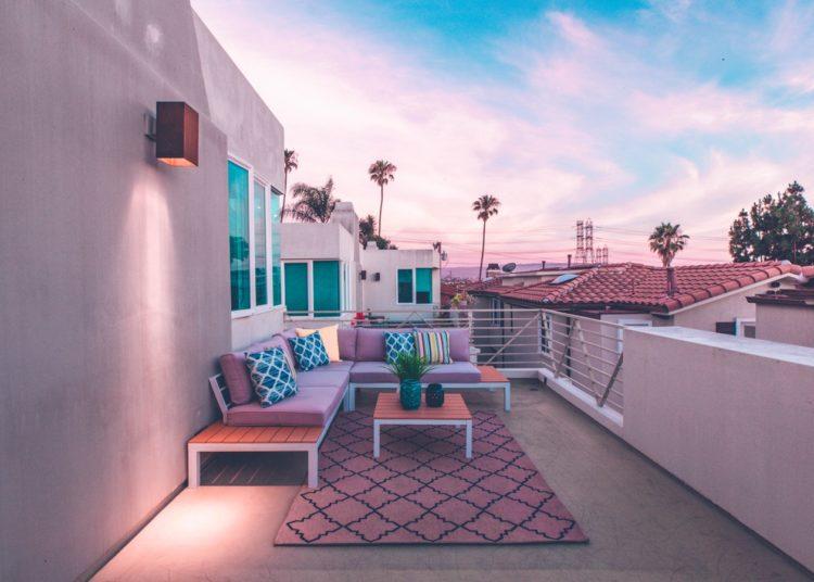 A modern patio with designer furniture