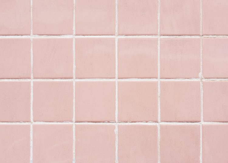 Pink tiles in the bathroom