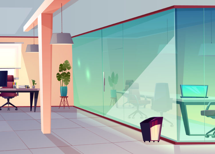 Vector cartoon illustration of bright office, modern workplace with transparent glass wall and tile floor. Corporate space for job with furniture and green plants, business cabinet for professionals.