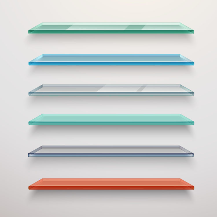 Realistic colored transparent glass wall shelves set isolated vector illustrationRealistic colored transparent glass wall shelves set isolated vector illustration