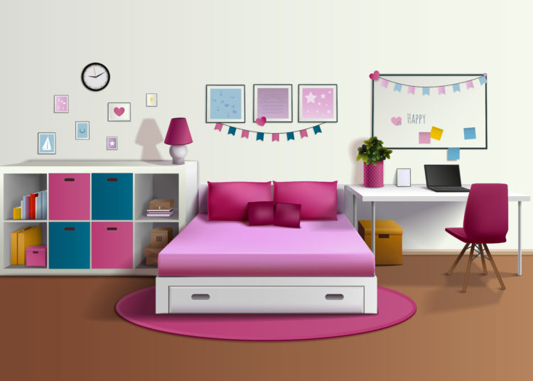 Girl room realistic interior with pink bed chair bookshelf photo frames desk laptop pillows carpet vector illustration