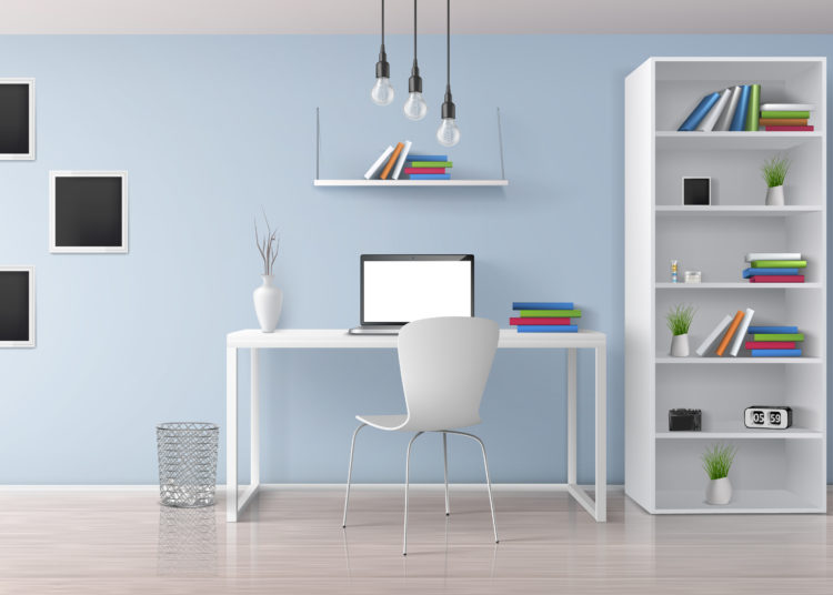 Home workplace, modern office room sunny, minimalistic style interior in pastel colors realistic vector with white furniture, laptop on desk, rack and bookshelves, photo frames on wall illustration
